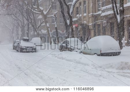 Odessa, Ukraine - January 18, 2016: A Powerful Cyclone, Storm, Heavy Snow Paralyzed The City. Winter