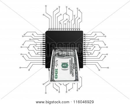 Digital Money Concept. Dollars Bill Over Microchips With Circuit