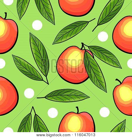Seamless hand drawn peach pattern