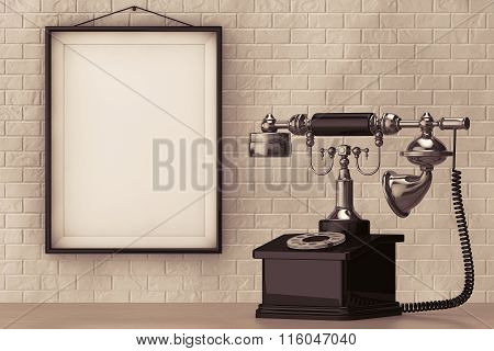 Vintage Telephone In Front Of Brick Wall With Blank Frame
