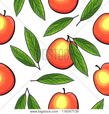 Seamless hand drawn peach pattern.
