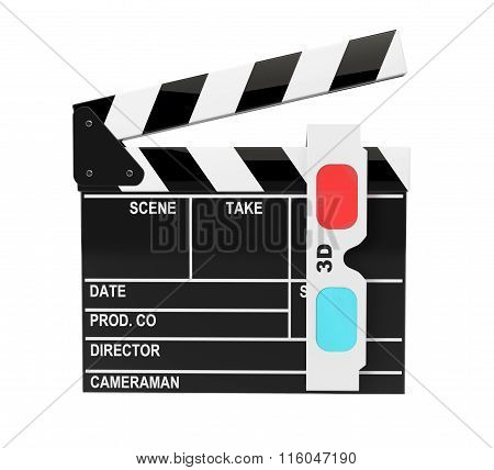 Movie Clapper Board With 3D Anaglyph Glass