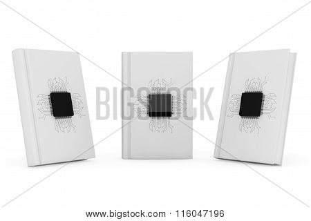 Digital Book Concept. Microchips With Circuit Over Blank Books