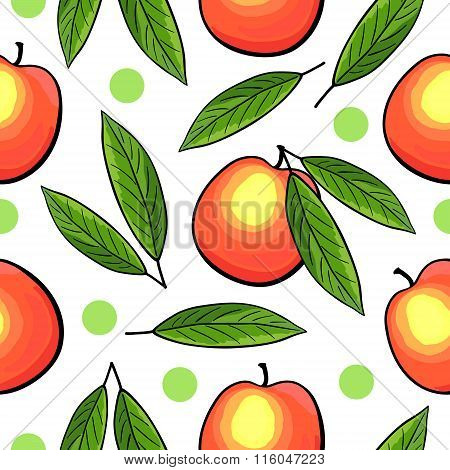Seamless peach pattern with leaves.