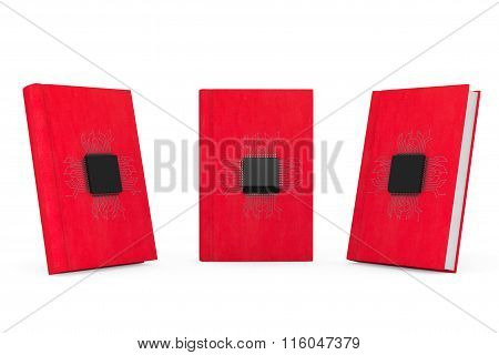 Digital Book Concept. Microchips With Circuit Over Red Books
