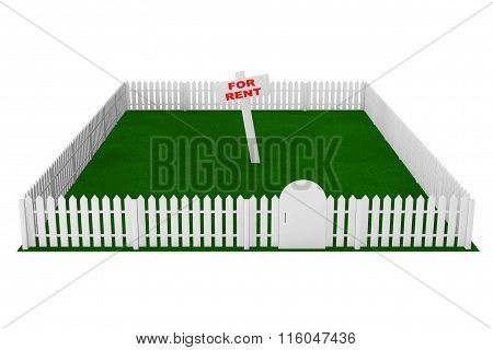 Yard With White Fence And For Rent Sign