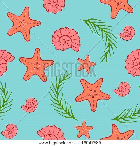 Seamless sea pattern. Blue background