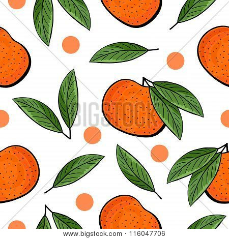 Seamless hand drawn tangerine pattern