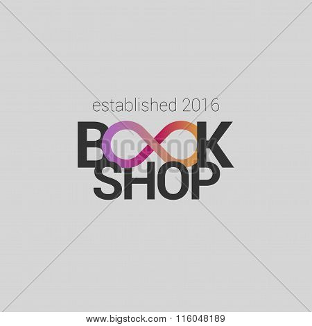 Template vector logo for bookstore with infinity sign