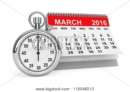 March 2016 Calendar With Stopwatch