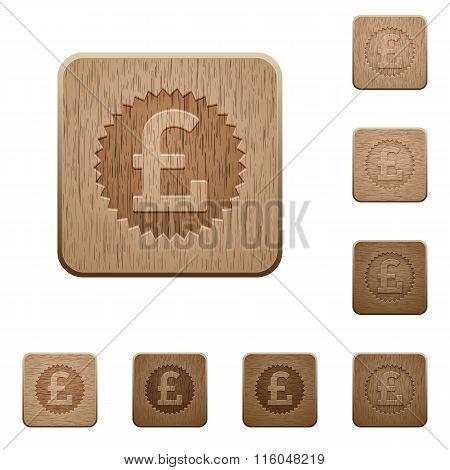 Pound Sticker Wooden Buttons