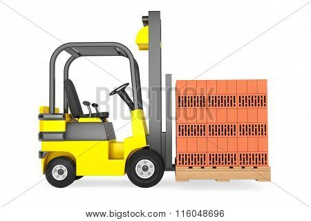 Forklift Truck With Bricks Over Pallet