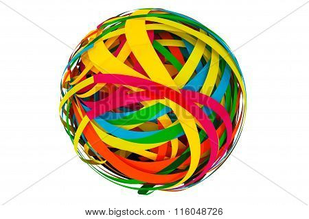 Abstract Sphere Made From Colorful Stripes