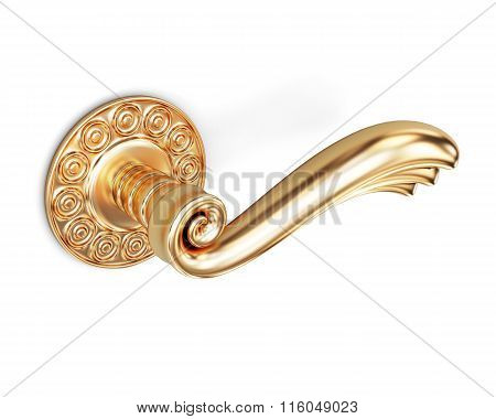 Door handle with an ornament on a white background. 3d rendering
