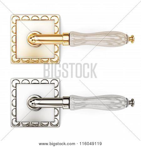 Twin designer door handles on a white background. 3d rendering