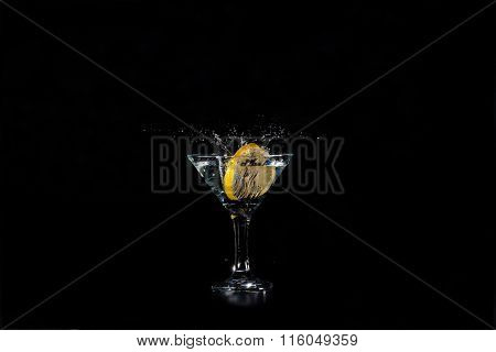 Slice Of Lemon Into A Glass