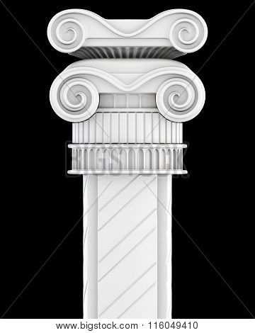 Top of the column on a black background. 3d render image