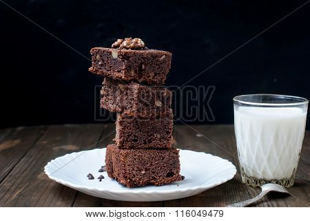 Homemade Chocolate Brownie Cake And A Glass Of Milk, Low Key