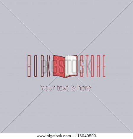 Bookstore vector concept logo template with open book