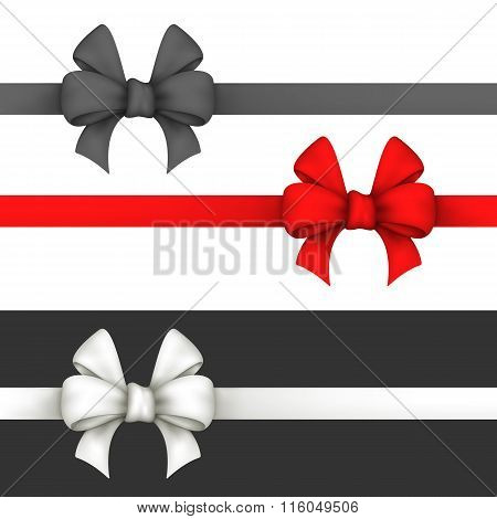 Black, Red And White Gift Bows.