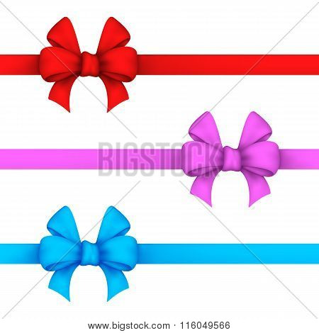 Red, Pink And Blue Gift Bows
