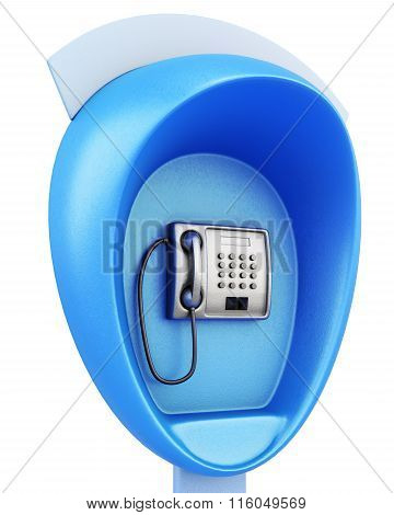 Blue public pay phone on a white background. 3d rendering