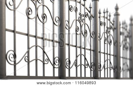 Element forged fence on a white background. 3d illustration