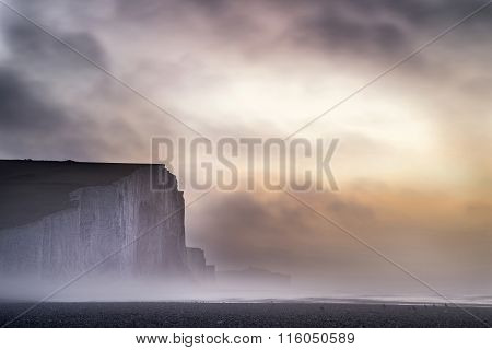 Beautiful Dramatic Foggy Winter Sunrise Seven Sisters Cliffs Landscape In England
