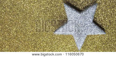 Big Silver Star In Brilliant Yellow Background