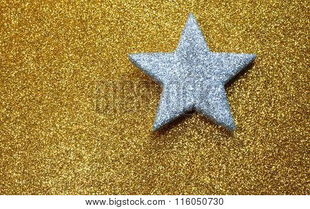 Silver Star In Brilliant Yellow Background