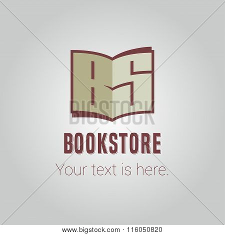 Template vector logo for bookstore with capital letters
