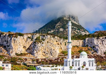 Rock of Gibraltar and Ibrahim-al-Ibrahim Mosque.