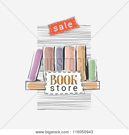 Vector hand drawn illustration for bookstore sale