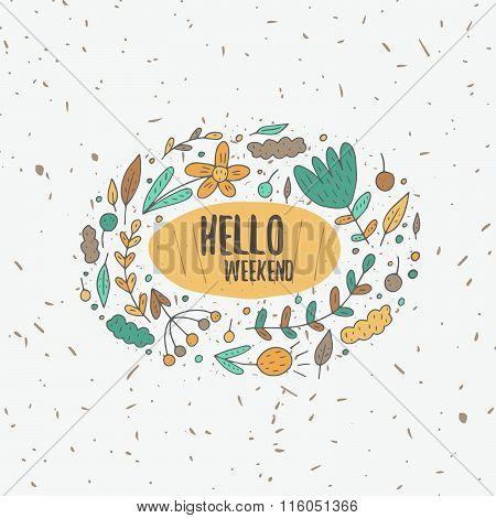 Hello weekend postcard