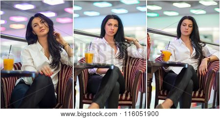 Attractive young woman sitting on armchair in shopping center. Beautiful fashionable young lady