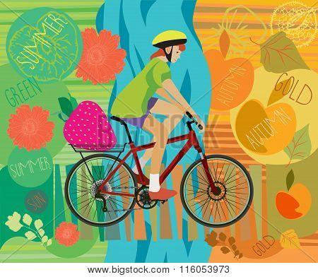 Girl on the bike. Summer poster. Autumn. Vector illustration.