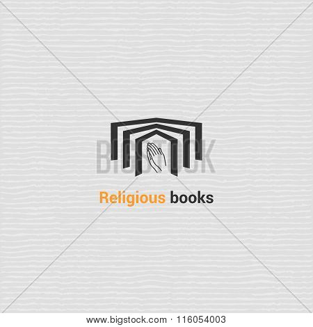 Bookstore vector logo template with open book.