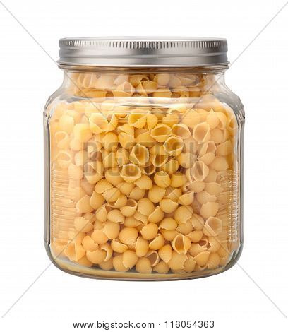 Shell Macaroni Pasta In A Glass Jar