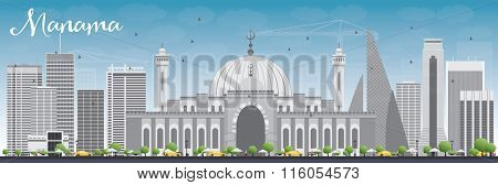 Manama Skyline with Gray Buildings and Blue Sky. Vector Illustration. Business Travel and Tourism Concept with Modern Buildings. Image for Presentation Banner Placard and Web Site.