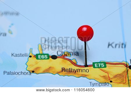Rethymno pinned on a map of Greece