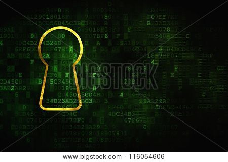Privacy concept: Keyhole on digital background