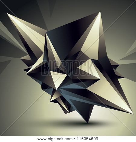 Spatial Vector Monochrome Digital Object Isolated, 3D Technology Figure With Geometric Elements.