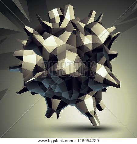 3D Modern Stylish Abstract Construction, Origami Facet Object Constructed From Different Geometric P