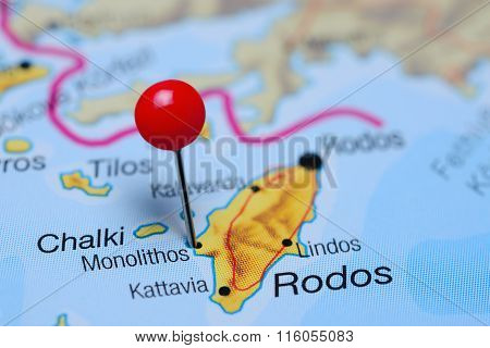 Monolithos pinned on a map of Greece
