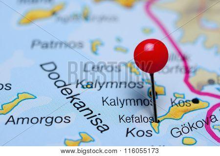 Kefalos pinned on a map of Greece
