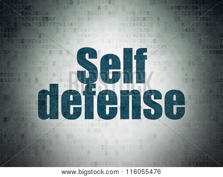Security concept: Self Defense on Digital Paper background
