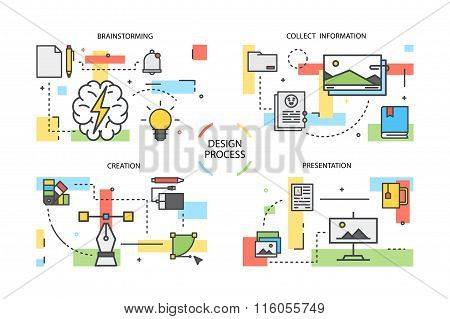 Line illustrations. Concept for graphic design workflow process. Stock vector.