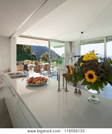 Interior of a modern villa, counter top of the kitchen
