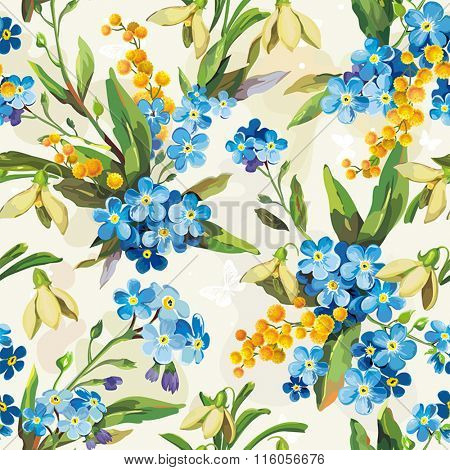 Stylish beautiful bright floral seamless pattern. Abstract Elegance vector illustration texture with forget-me-not