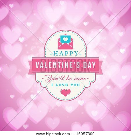 Happy Valentines Day Typographical Badge. Valentines Day Card. Vector Illustration. Design Template